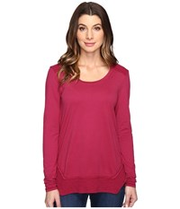 Mod O Doc Classic Jersey Long Sleeve Tee W Thermal Contrast Cranberry Women's T Shirt Red