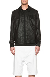 Helmut Lang Washed Paper Leather Trucked Jacket In Black