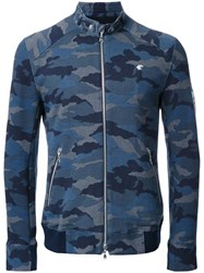 Loveless Camouflage Print Zipped Jacket Blue