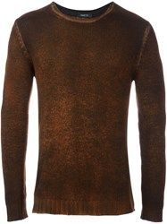 Avant Toi Ribbed Cuffs Pullover Brown