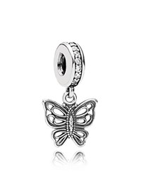 Pandora Design Pandora Dangle Charm Sterling Silver And Cubic Zirconia Love Takes Flight Moments Collection Silver Clear