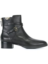 Tory Burch Wrap Around Buckle Strap Booties Black