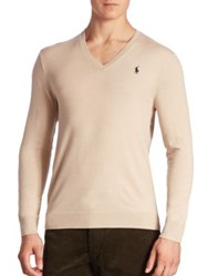 Polo Ralph Lauren Slim Fit V Neck Sweater Oatmeal Heather