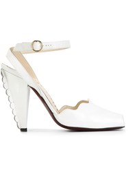 Yves Saint Laurent Vintage Scalloped Trim Heel Sandals White