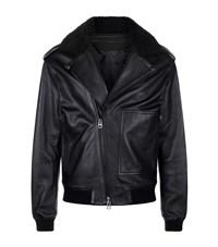 Acne Studios Shearling Collar Biker Jacket Male Black
