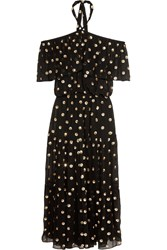 Temperley London Jolie Sequin Embellished Georgette Maxi Dress Black
