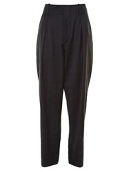 Etoile Isabel Marant Ned Checked Straight Leg Trousers Dark Grey