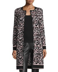M Missoni Metallic Animal Print Long Coat Blush