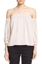 Milly Women's Stretch Silk Off The Shoulder Blouse Petal