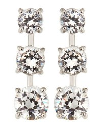 Fantasia Cz Triple Stone Gradient Dangle And Drop Earrings