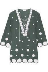 Miguelina Daria Embroidered Cotton Voile Kaftan Green