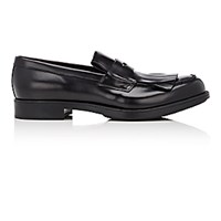 Prada Men's Kiltie Penny Loafers Black Blue Black Blue