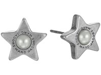 Marc Jacobs Flat Pearl Star Studs Earrings Cream Antique Silver