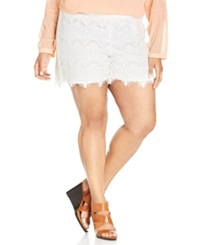 Junarose Plus Size Lace Shorts Snow White