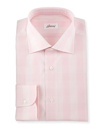 Brioni Solid Glen Plaid Woven Dress Shirt Pink Assorted