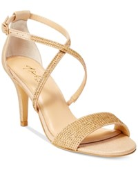 Thalia Sodi Dulce Rhinestone Strappy Evening Sandals Only At Macy's Women's Shoes Gold