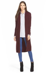 Women's Leith Long Open Front Cardigan Burgundy Stem