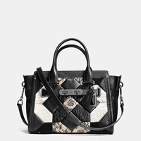 Canyon Quilt Coach Swagger 27 In Exotic Embossed Leather Dark Gunmetal Black Chalk