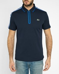 Lacoste Navy Blue And White Striped Half Zip Sport Performance Polo Shirt