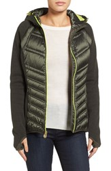 Michael Michael Kors Women's Mixed Media Hooded Down Jacket Olive