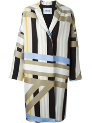 Msgm Striped Coat Nude And Neutrals