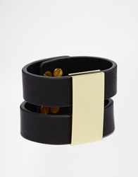 Whistles Two Strap Leather Cuff Bracelet Black