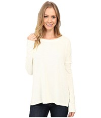 Dylan By True Grit Bonded Soft Slub And Soft Knit Drop Shoulder Seam Tee Chalk Women's T Shirt White