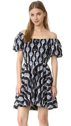 Caroline Constas Bardot Embroidered Dress Black Blue