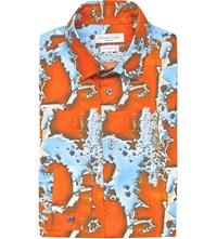 Richard James Paint Peel Print Cotton Shirt Blue