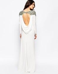 Forever Unique Calista Long Sleeve Maxi Dress With Embellished Shoulders And Open Back White