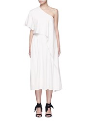 Tome Ruffle Silk Poplin One Shoulder Dress White
