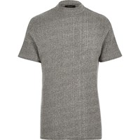 River Island Mens Grey Ribbed Turtle Neck Top