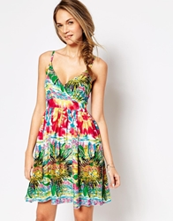 Pussycat London Sun Dress In Artistic Floral Print