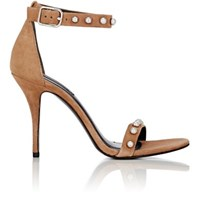 Alexander Wang Women's Antonia Studded Suede Ankle Strap Sandals Tan White Tan White