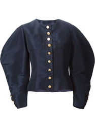 Chanel Vintage Cocoon Sleeve Skirt Suit Blue