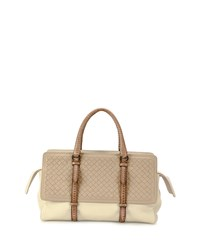 Monaco Medium Intreccio Top Handle Bag Tricolor Bottega Veneta White Tan