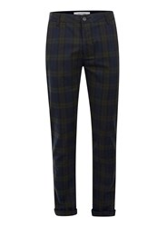 Topman Navy And Green Check Skinny Fit Trousers Blue