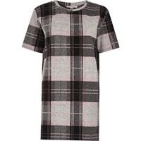 River Island Womens Petite Pink Check Oversized T Shirt