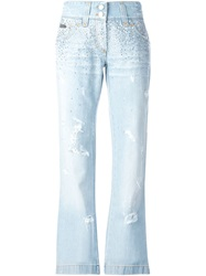 Dolce And Gabbana Flared Rhinestone Embellished Jeans Blue