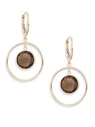 Saks Fifth Avenue Smoky Quartz And 14K Yellow Gold Drop Earrings