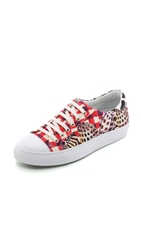 Temperley London Coralie Leopard Canvas Sneakers Red Brown