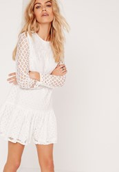Missguided Long Sleeve Frill Hem Lace Dress White White