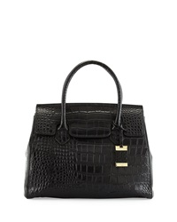 Christian Lacroix Luna Crocodile Embossed Leather Satchel Bag Black