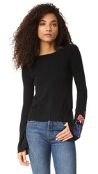 Autumn Cashmere Sweater With Embroidered Bell Sleeves Black Combo
