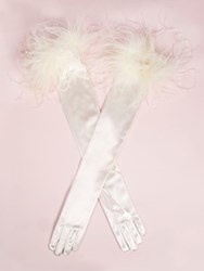 Dents Long Evening Glove Ostrich Feather Trim Ivory