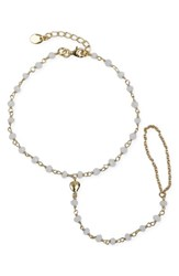 Argentovivo Women's Argento Vivo Beaded Heart Charm Hand Chain Gold White Onyx