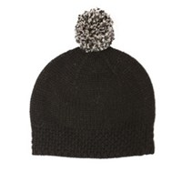 Lowie Black Virgin Wool Pom Beanie Bobble Hat