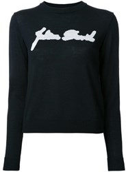 Julien David Intarsia Detail Jumper Black