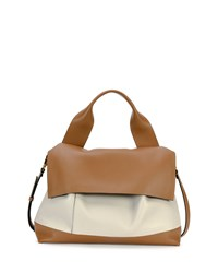 Bicolor Flap Satchel Bag Brown White Marni