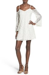 Love Fire Women's Cold Shoulder Crochet Shift Dress Ivory